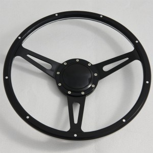 """15"""" Classic Wood Steering Wheel with Polished Aluminum Spoke for Restoration Triumph Spitfire TR4"""