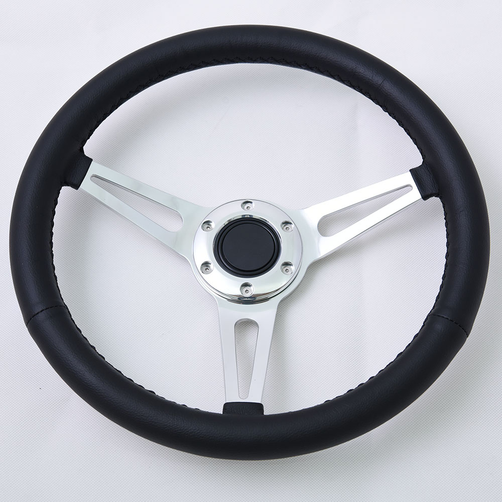 16 inch 6 bolts classic steering wheel with Black leather Grip Momo Pattern 400mm Featured Image