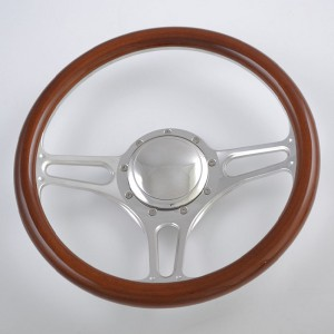 14 inch Black Leather rim Half Wrap Steering Wheel for GM Ford Corvair Impala Chevy