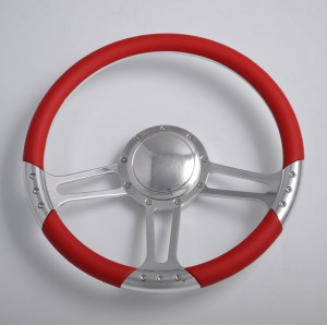 Mirror Polished Aluminum Steering Wheel 14 inch with Leather rim
