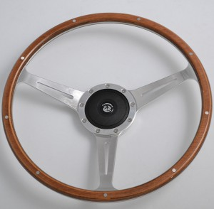 380mm Timber steering wheel with Billet Aluminium Spoke for Classic Car 17 inch