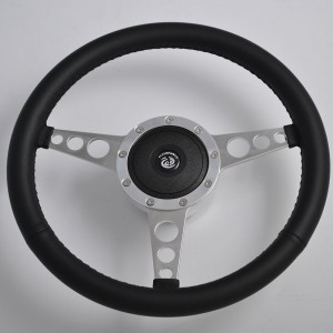 "15"" Leather Classic Steering Wheel Flat Dish 380mm"