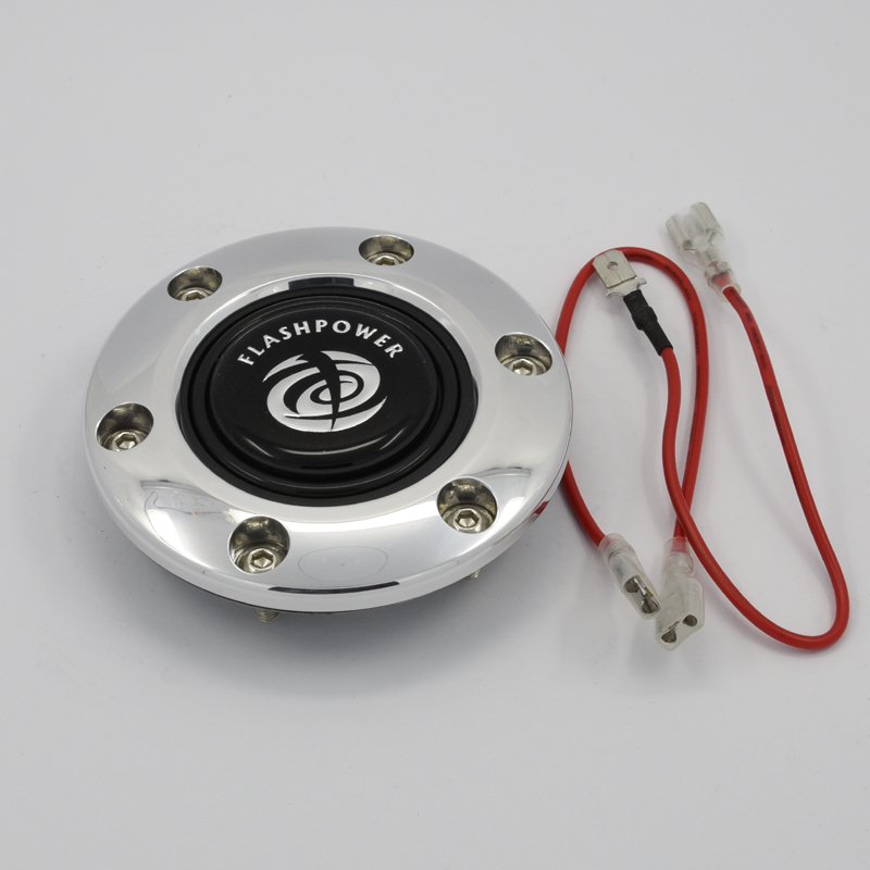Six Bolts Aluminum Cover Horn Button for Nardi and MOMO Steering Wheel with wires Featured Image