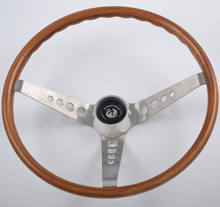 15 inch Walnut Wood Classic Steering Wheel for Mustang Shelby Cobra GT350,GT500 Featured Image