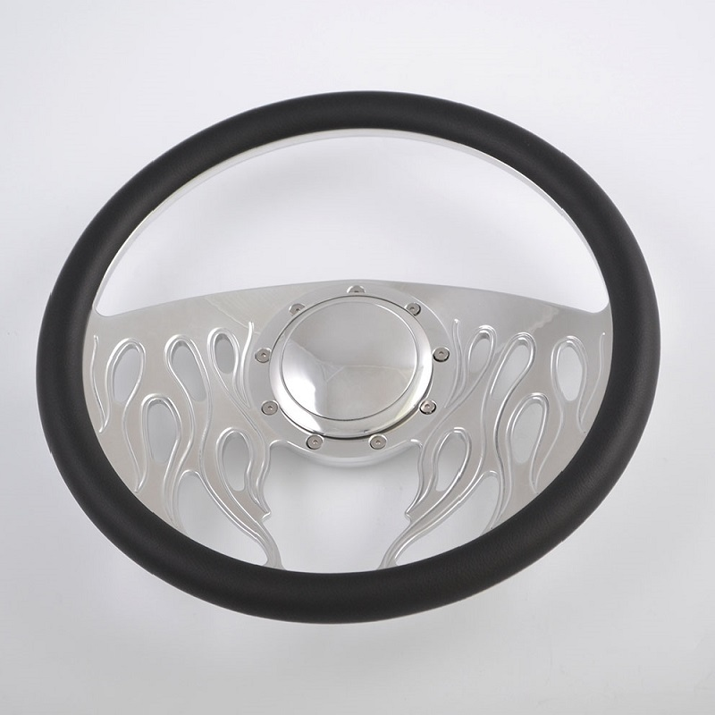 Leather Grip Chrome Flame Steering Wheel for car and truck 15inch 380mm Featured Image