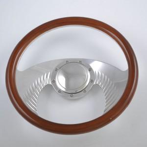 14″ CNC Alunminum Wings Steering Wheel with Black Leather Grip