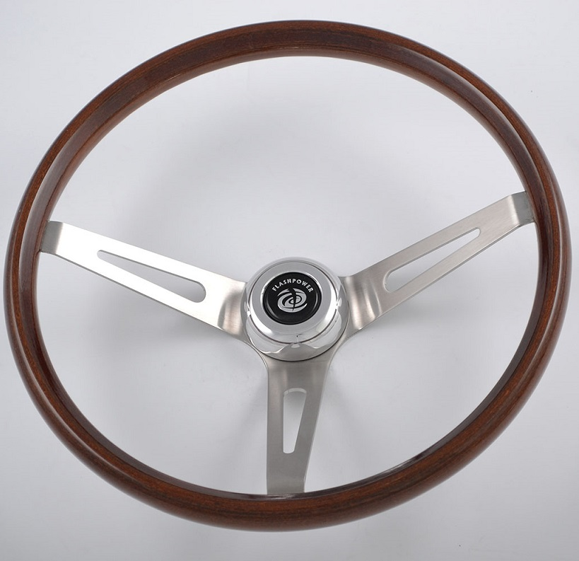 16″ Stainless Steel Spoke Classic Steering Wheel with Walnut Wood rim Featured Image