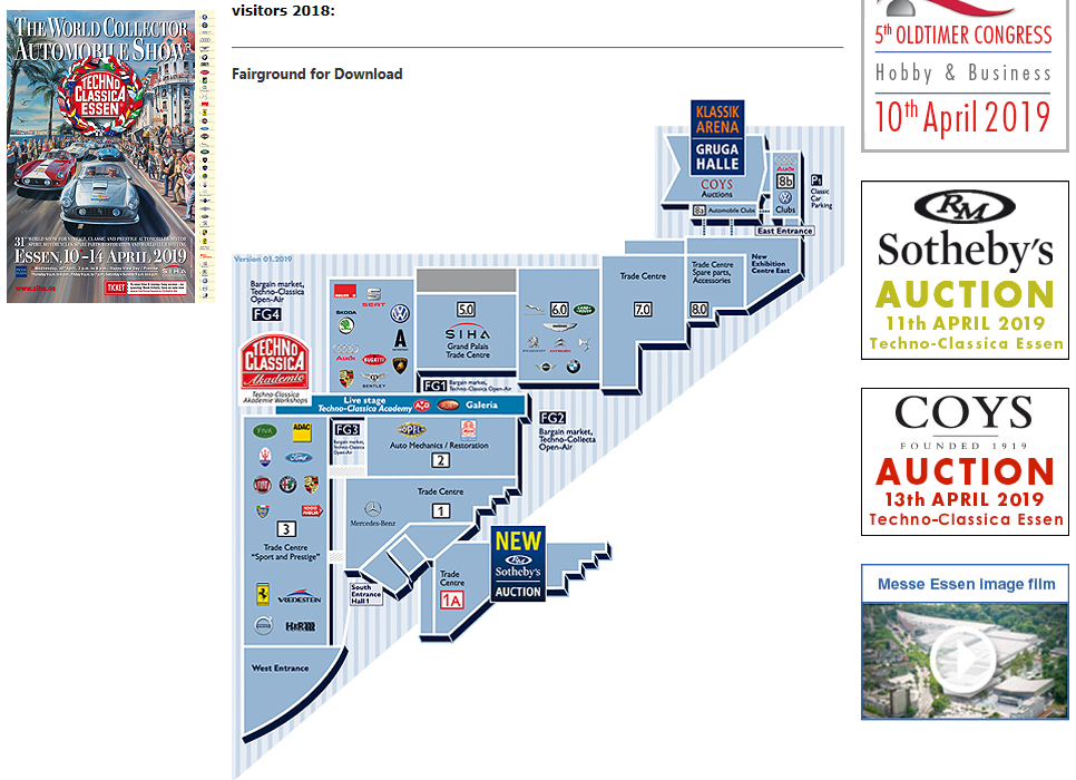 2019 Techno Classica Essen map