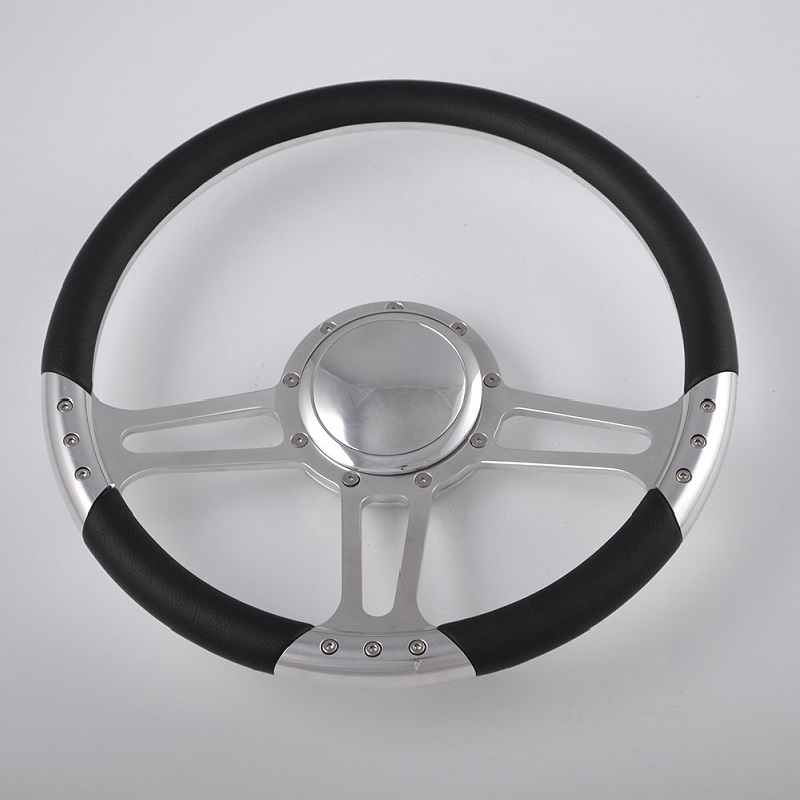 Mirror Polished Aluminum Steering Wheel 14 inch with Leather rim Featured Image