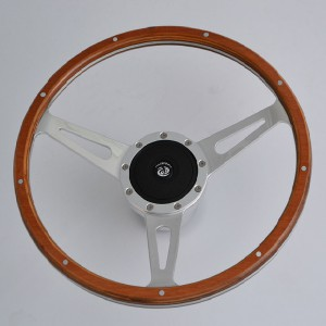 "15"" Classic Wood Steering Wheel with Polished Aluminum Spoke for Restoration Triumph Spitfire TR4"