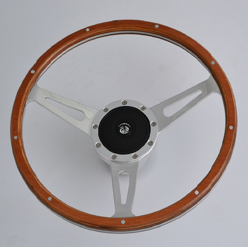"""15"""" Classic Wood Steering Wheel with Polished Aluminum Spoke for Restoration Triumph Spitfire TR4 Featured Image"""
