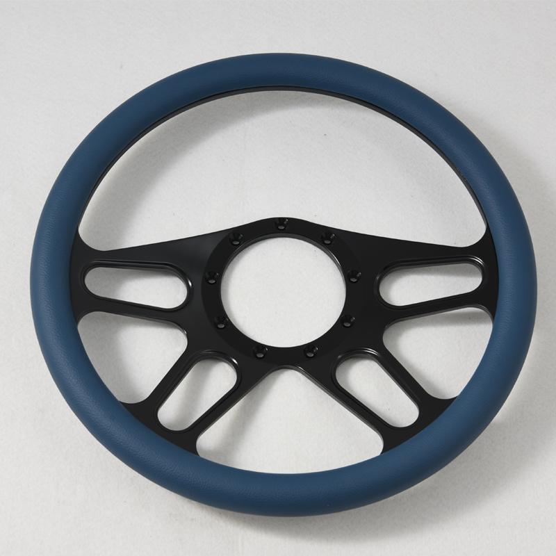 380mm Aluminum Black Billet Steering Wheel for Ford GM Corvair Featured Image