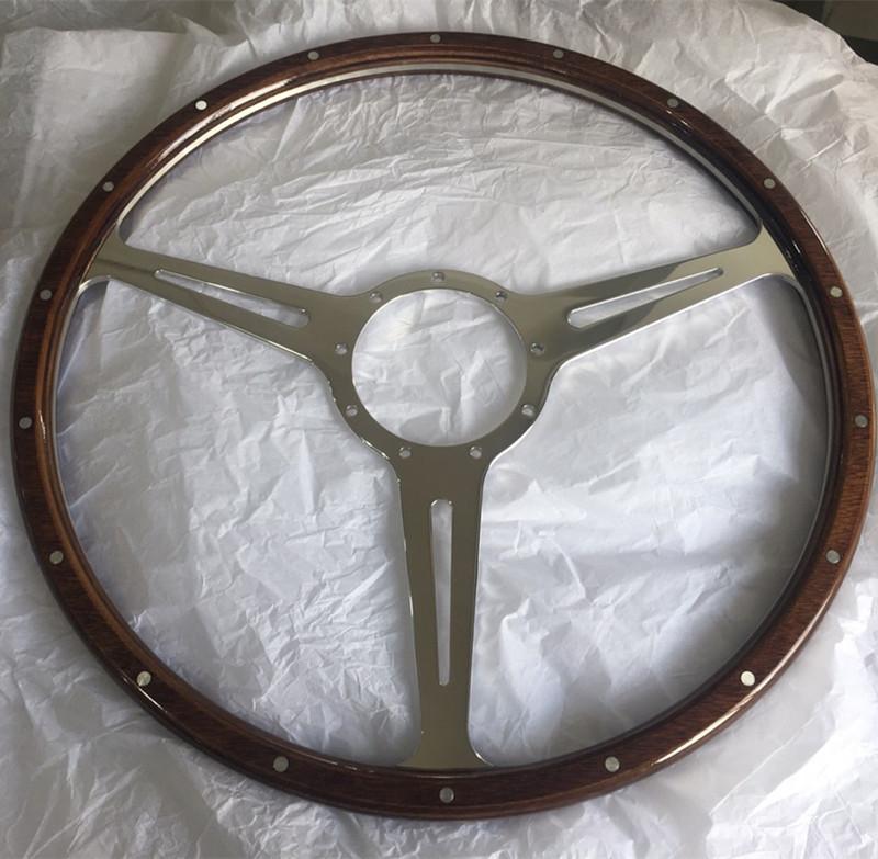 17″ Wood Classic steering wheel 430mm Aluminum Flat Spoke Featured Image