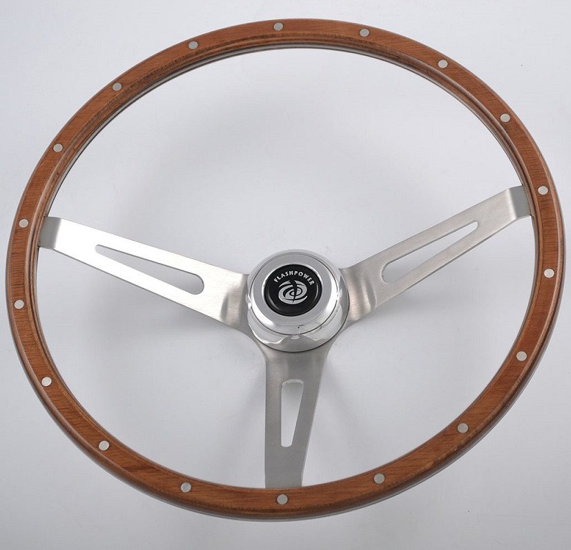 Wood Rim Deep Dish Classic Steering Wheels with 304 Stainless Steel Spoke Featured Image