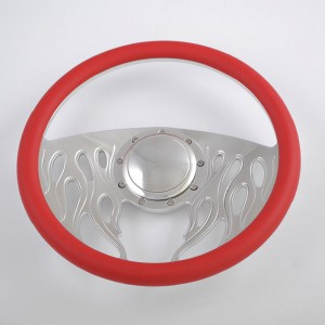 Leather Grip Chrome Flame Steering Wheel for car and truck 15inch 380mm