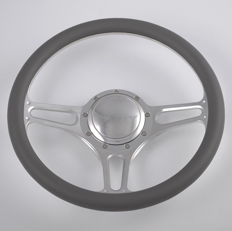 14 inch Black Leather rim Half Wrap Steering Wheel for GM Ford Corvair Impala Chevy Featured Image