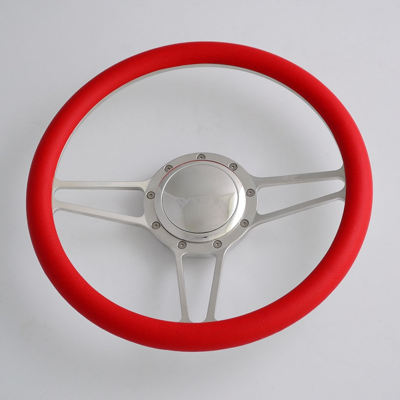 14 inch Billet Aluminum Steering Wheel with red leather rim Half Wrap Featured Image