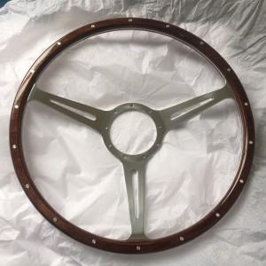 380mm Wood rim Timber steering wheel with Billet Aluminium Spoke for Classic Car 17 inch