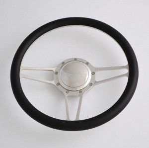 14 inch Billet Aluminum Steering Wheel with red leather rim Half Wrap