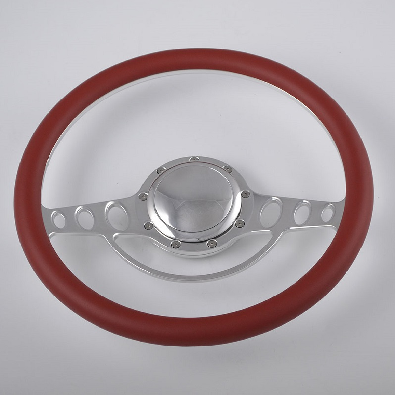 15″ Polished Aluminum Billet Spoke Leather Steering Wheel for Muscle American Car Featured Image