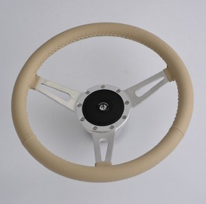 14 inch Leather Rim Sports steering wheel Aluminum Spoke 9 bolts 350mm