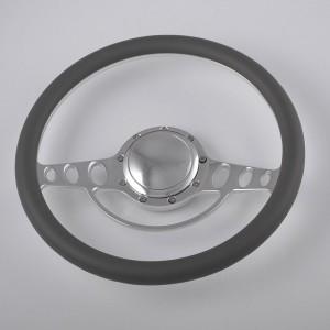 15″ Polished Aluminum Billet Spoke Leather Steering Wheel for Muscle American Car